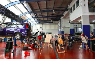 The Davidov Honda/Volvo garage, which is turned into an art studio during Manofim, a week-long celebration of contemporary art in Jerusalem (Courtesy Manofim)