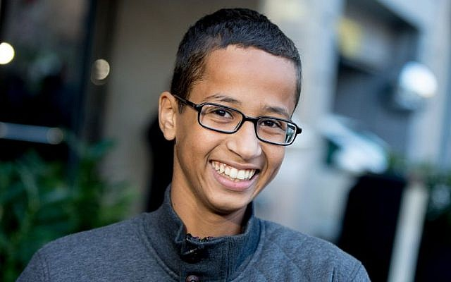 Ahmed Mohamed, the 14-year-old who was arrested at MacArthur High School in Irving, Texas, for allegedly bringing a hoax bomb to school, speaks during an interview with the Associated Press, Monday, Oct. 19, 2015, in Washington. (AP/Andrew Harnik)