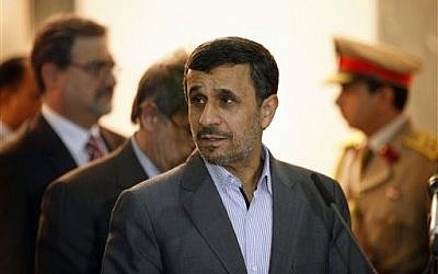 Former Iranian president Mahmoud Ahmadinejad in July 2013. (AP Photo/Hadi Mizban)