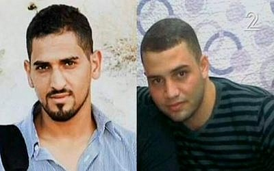 Undated pictures showing Baha Allyan, left, and Bilal Riman, the attackers in the Jerusalem bus shooting/stabbing of October 13, 2015, according to Israeli press reports. (Screen capture: Channel 2)