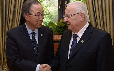 UN Secretary-General Ban Ki-moon meets with President Reuven Rivlin in Jerusalem on October 20, 2015. (Photo: President Rivlin's Facebook page)