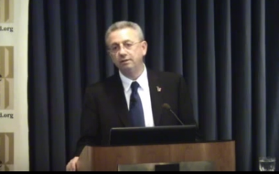 Mustafa Barghouti speaks the Palestine Center of the Jerusalem Fund, 10 September, 2013 (screen capture: YouTube)