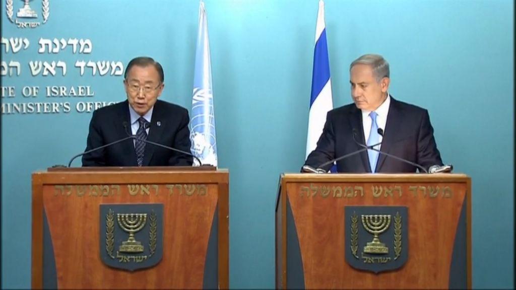 Prime Minister Benjamin Netanyahu and UN Secretary General Ban Ki-moon hold a joint press conference on October 20, 2015 in Jerusalem. (screen capture: Walla news)