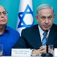 Prime Minister Benjamin Netanyahu (right) with then defense minister Moshe Ya'alon during a joint press conference at the Prime Minister's Office in Jerusalem regarding the recent wave of terror in Israel, October 8, 2015. (Yonatan Sindel/Flash90)