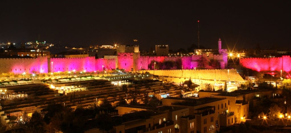 Pink lights promoting breast cancer awareness in Jerusalem's Old City, October 25, 2010. (Kobi Gideon/Flash90)