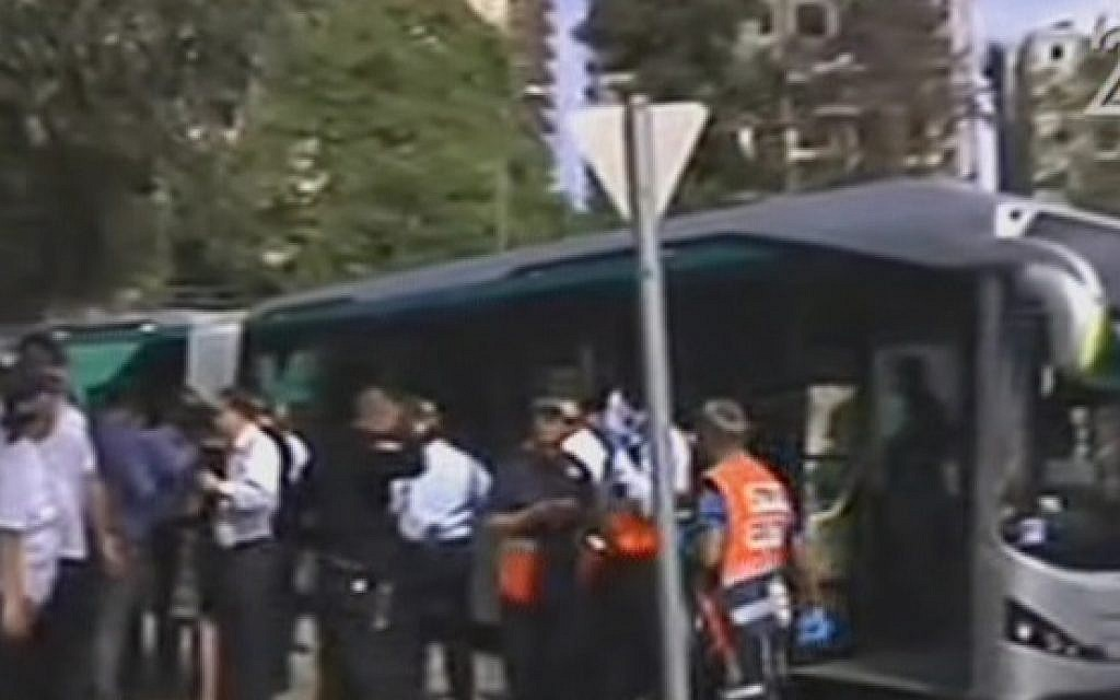 The scene of a deadly attack on a Jerusalem bus on October 13, 2015. (Screen capture: Channel 2)