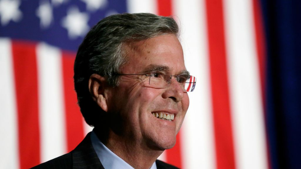Republican presidential candidate and former Florida Gov. Jeb Bush reacts to a supporter during the Scott County Republican Party's Ronald Reagan Dinner in Davenport, Iowa, Tuesday, October 6, 2015 (AP Photo/Charlie Neibergall, File)