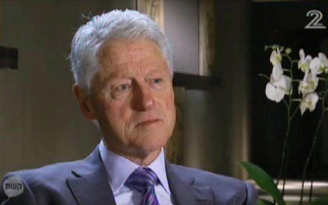 Former US president Bill Clinton speaks to Israeli Channel 2 ahead of the 20th anniversary of the murder of Israeli prime minister Yitzhak Rabin. (Screenshot/Channel 2)
