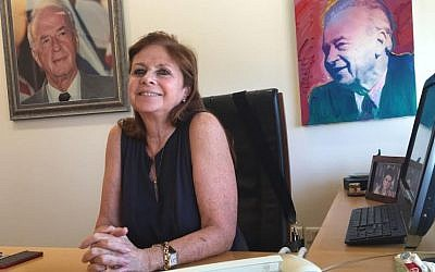Dalia Rabin in her office at the Yitzhak Rabin Center (DH/ToI)