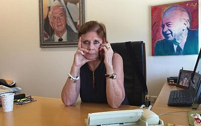 Dalia Rabin at work in her office at the Yitzhak Rabin Center (DH/ToI)