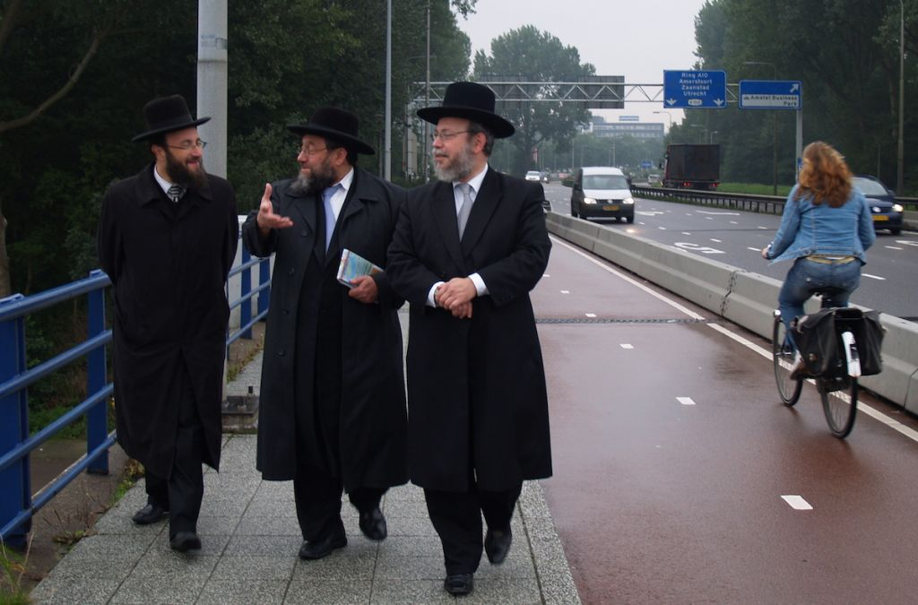Dutch rabbis in the Amsterdam suburb of Buitenveldert. (David Serphos/JTA)