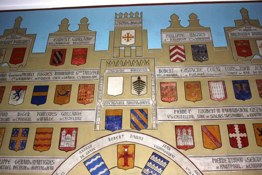Brightly colored coats of arms belonging to Crusader families in the wards of Le Hȏpital Saint-Louis (Shmuel Bar-Am)