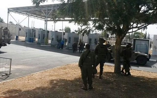 The Jenin checkpoint where a Palestinian teenager tried to stab Israeli security personnel before being shot and killed on October 24, 2015. (Israeli Ministry of Defense)