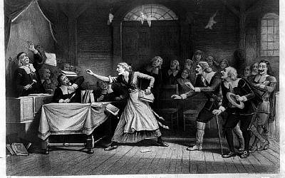 In artist Joseph Baker's famous lithograph, the passions unleashed by the 1692 Salem witch trials are easy to identify (Wikimedia Commons)