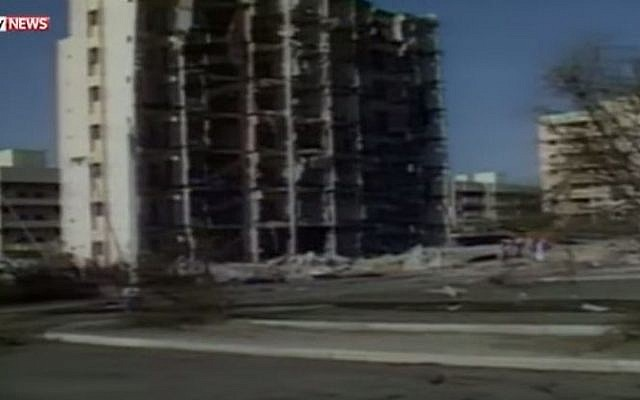The Kohbar Towers building after the 1996 terror bombing. (YouTube/MavisisuNews99)