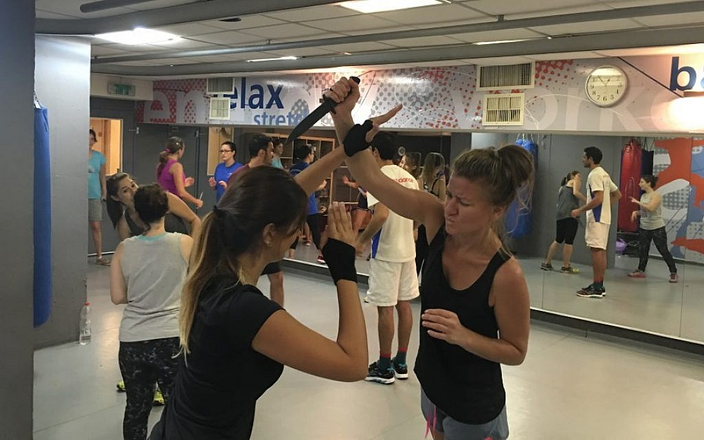 Women take a Krav Maga class in central Tel Aviv on October 9, 2015 (Courtesy: Oren Mellul)