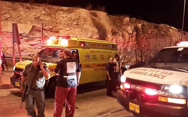 Israeli security forces attend the scene a foiled attack near Ma'ale Adumim on October 7, 2015. (Magen David Adom)