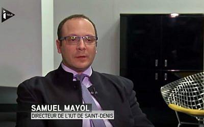 French-Jewish academic Samuel Mayol, February 2015. (screenshot/YouTube/itele)