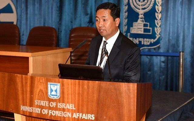 Kathmandu mayor Rudrah Singh Tamang address the Israeli Foreign Affairs Ministry during a visit to Israel from October 18 to 23. Tamang spoke about the aid the city received from Israeli sources following the April 2015 earthquake. (Courtesy American Council for World Jewry)