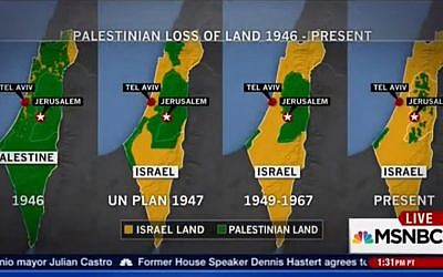 "Screenshot of maps labled ""Palestine"" displayed during MSNBC coverage of ongoing unrest in Israel, October 15, 2015 (YouTube)"