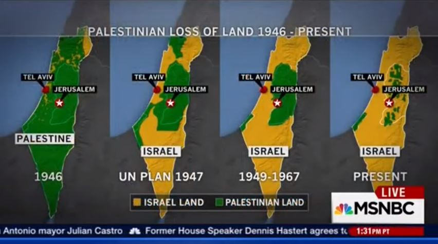 """Screenshot of maps labled """"Palestine"""" displayed during MSNBC coverage of ongoing unrest in Israel, October 15, 2015 (YouTube)"""