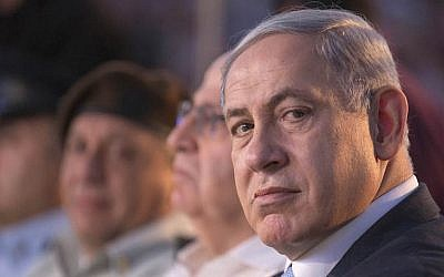 Prime Minister Benjamin Netanyahu attending a ceremony honoring World War II veterans and marking the 70th anniversary of the Allied victory over Nazi Germany at the Armored Corps Memorial and Museum at Latrun Junction, Jerusalem, May 7, 2015. (Jack Guez/Pool Photo via AP Images)