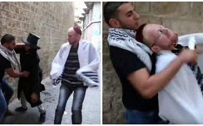 Screenshots from a terror-promoting video posted to YouTube showing a Palestinian man stabbing two 'Jewish' characters in the Old City. October, 2015 (Screenshots/YouTube)