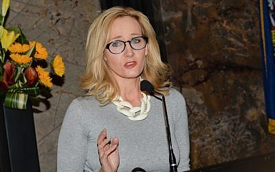 In this April 9, 2015 file photo, Author J.K. Rowling speaks at the Empire State Building during a lighting ceremony and to mark the launch of her non-profit children's organization Lumos in New York. (Evan Agostini/Invision/AP)