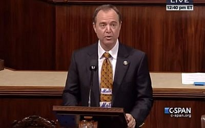 Congressman Adam Schiff prepares to sing on the House floor on October 23, 2015, after losing a sports bet to colleague Steve Israel. (screen capture: YouTube)