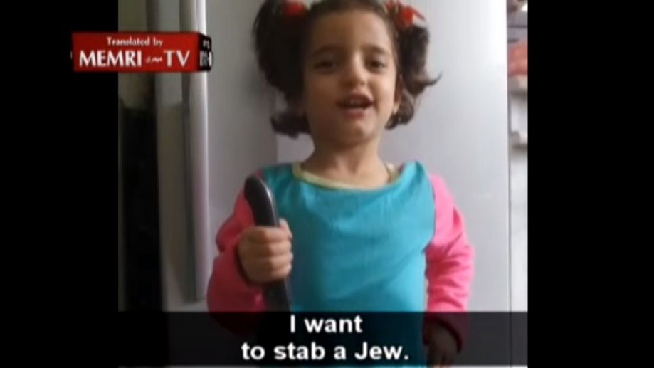 "A young Palestinian-Jordanian girl holds knife, says: ""I Want to Stab a Jew"" (MEMRI screenshot)"