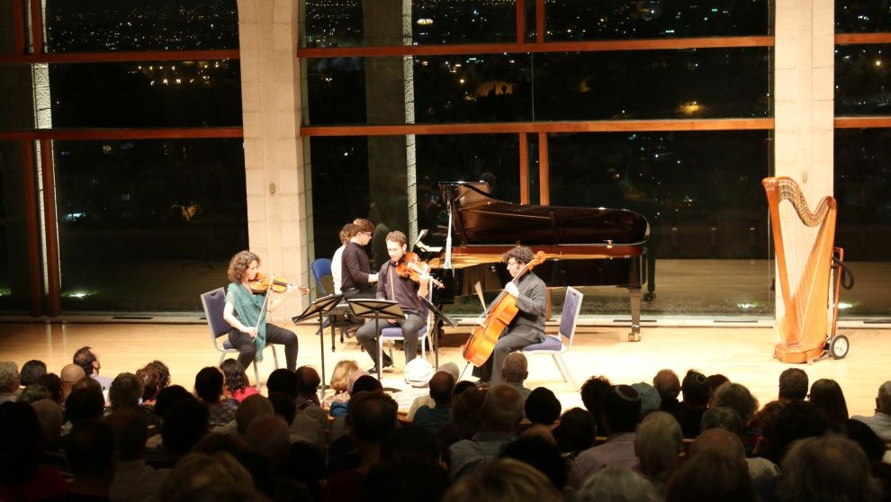 A packed audience for a summer concert at the auditorium at Brigham Young University's Jerusalem Center (Shmuel Bar-Am)
