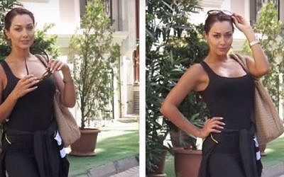 Images posted by Iranian actress Sadaf Taherian showing her without the head covering demanded by her country. (screen capture: YouTube)