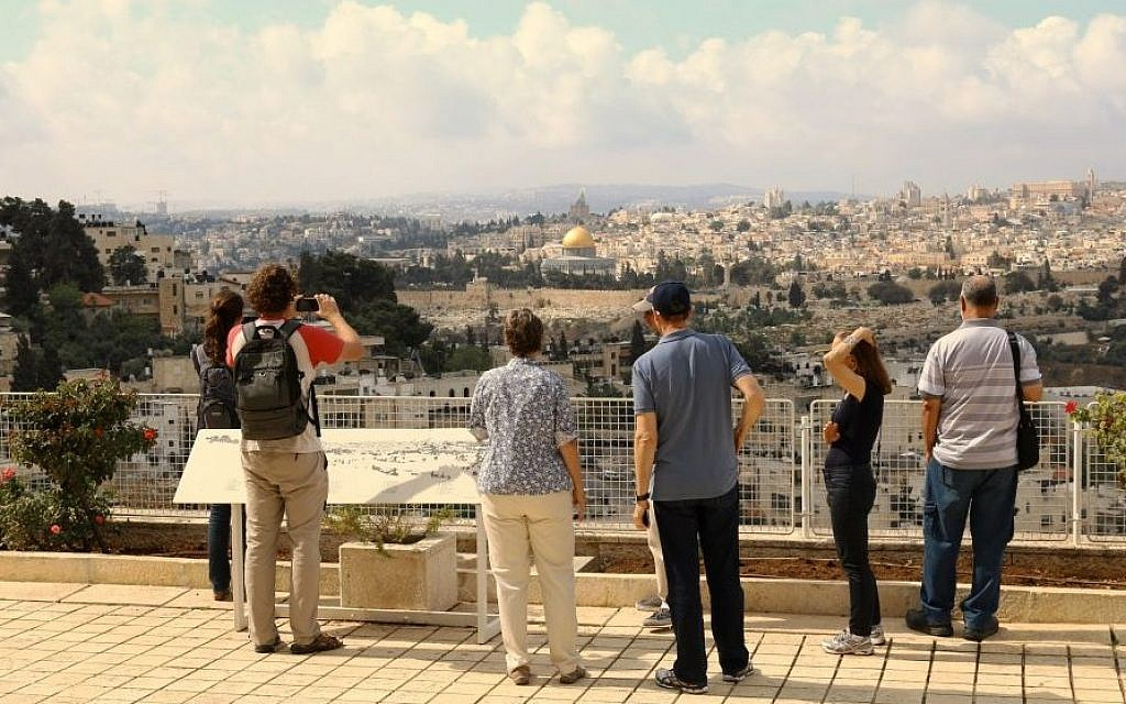 Looking out at Jerusalem on a tour at Brigham Young University's Jerusalem Center (Shmuel Bar-Am)