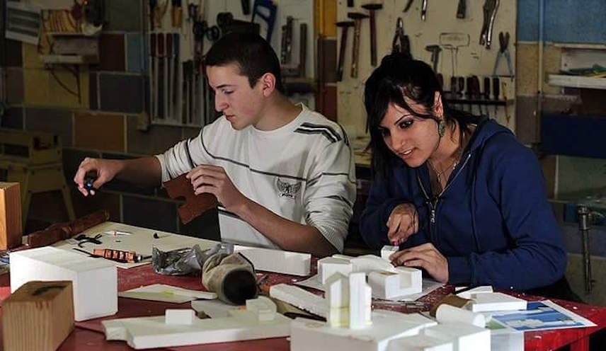 Tovanot Herzog High School kids at work on a project (Courtesy)