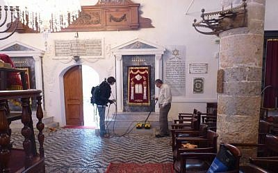 Excavation team at the 400-year-old Kaha Shalom synagogue on Rhodes, Greece, using ground-penetrating radar to detect artifacts. (Courtesy)