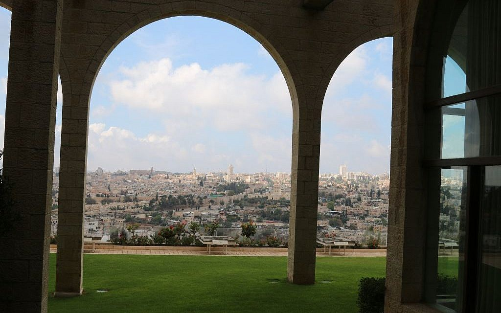 The view from the auditorium at Brigham Young University's Jerusalem Center (Shmuel Bar-Am)