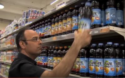 "Zelekha visits an Israeli supermarket, in a scene from ""Silver Platter"" (YouTube)"