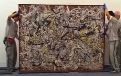 Jackson Pollock's 'Mural on Indian Red Ground,' one of 42 Western artworks to go on display in a major exhibition at Tehran's Museum of Contemporary Art. (screen capture: YouTube)
