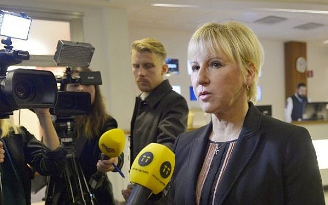 Sweden's Minister for Foreign Affairs Margot Wallstrom gives a statement to the media in Stockholm, Sweden, on the Paris terrorist attacks, on November 14, 2015. (AFP/TT News Agency/Henrik Montgomery)