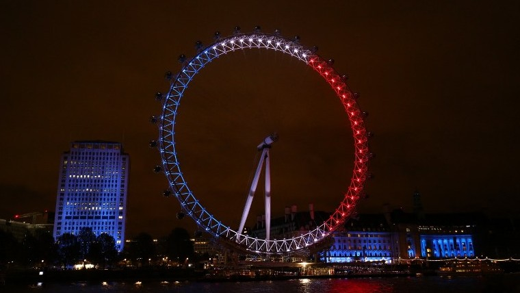 London landmark The London Eye is illuminated in blue white and red lights resembling & Jerusalem to light Old City walls in colors of French flag   The ... azcodes.com