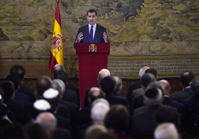 King Felipe VI of Spain delivers a speech at the Royal Palace in Madrid during a ceremony to pay tribute to the Sephardic Jews expelled from Spain (AFP PHOTO / PIERRE-PHILIPPE MARCOU)