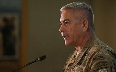 Commander of US and NATO forces in Afghanistan, General John F. Campbell speaks during a press conference at Resolute Support headquarters in Kabul on November 25, 2015. (AFP PHOTO/Massoud HOSSAINI/POOL / AFP / POOL / MASSOUD HOSSAINI)