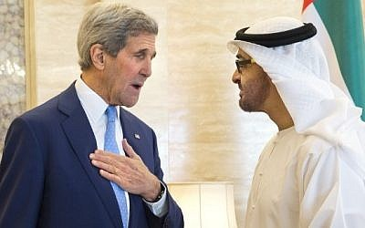 US Secretary of State John Kerry, left, meets with Abu Dhabi Crown Prince Sheikh Mohamed bin Zayed al-Nahyan in the United Arab Emirates capital, November  23, 2015. (AFP/POOL/JACQUELYN MARTIN)