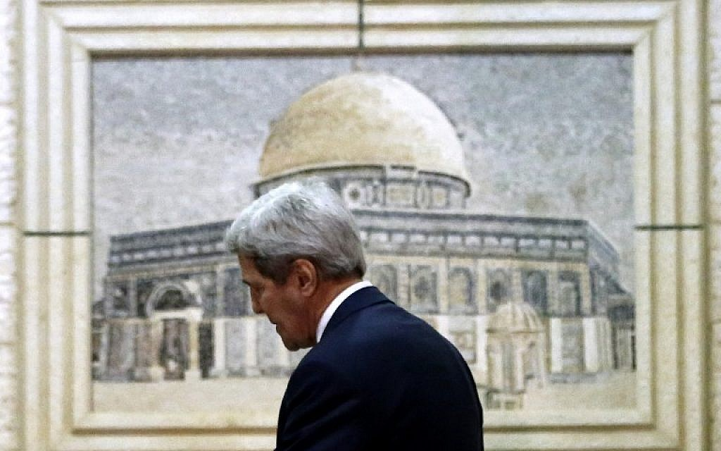 US Secretary of State John Kerry arrives to the Palestinian Authority headquarters in the West Bank city of Ramallah for meetings with Palestinian officials on November 24, 2015.  (AFP / ABBAS MOMANI)