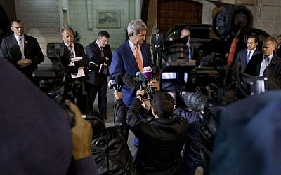 US Secretary of State John Kerry speaks to members of the media after meeting with Palestinian president Mahmud Abbas in the West Bank city of Ramallah on November 24, 2015. (Jacquelyn Martin/AFP/Pool)