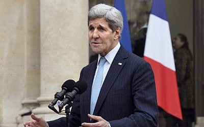US Secretary of State John Kerry addresses reporters following his meeting with the French President at the Elysee palace in Paris on November 17, 2015 (Photo by AFP Photo / Dominique Faget)