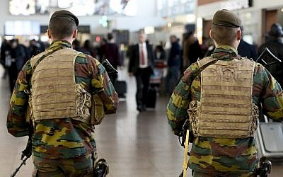 Military police patrol the Brussels Airport in Zaventem, eastern Brussels, November 18, 2015. (Photo by AFP Photo/Belga/Dirk Waem)
