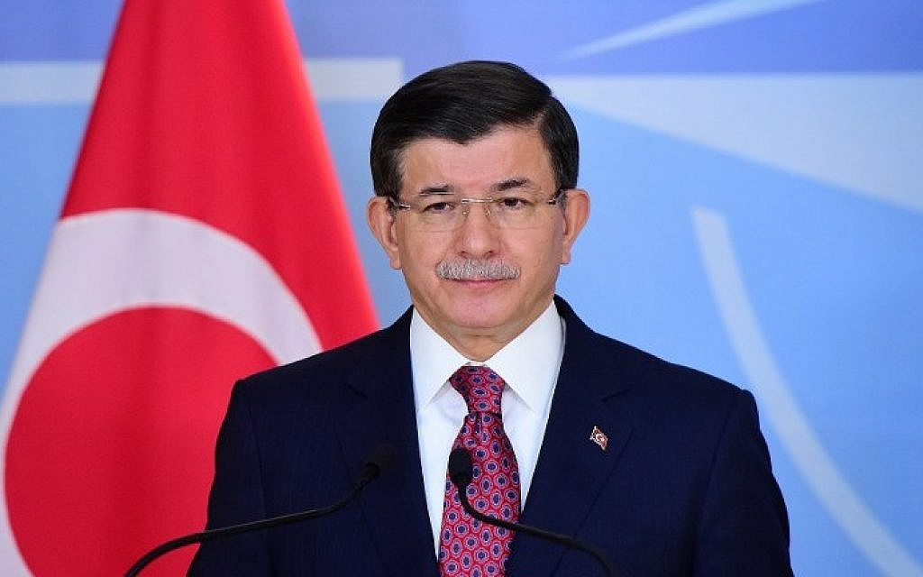 Turkish Prime Minister Ahmet Davutoglu speaks during a press conference at the NATO headquarters on November 30, 2015 in Brussels. (Emmanuel Dunand/AFP)