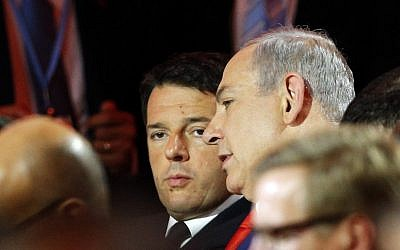 File: Prime Minister Benjamin Netanyahu speaks with Italian counterpart Matteo Renzi during the opening ceremony of the COP21, United Nations Climate Change Conference, in Le Bourget, outside Paris, on November 30, 2015. (Thibault Camus/AFP)