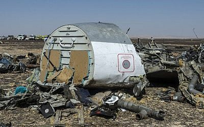 Debris of the A321 Russian airliner a day after the plane crashed in Wadi al-Zolomat, a mountainous area in Egypt's Sinai Peninsula, on November 1, 2015. (AFP/KHALED DESOUKI)